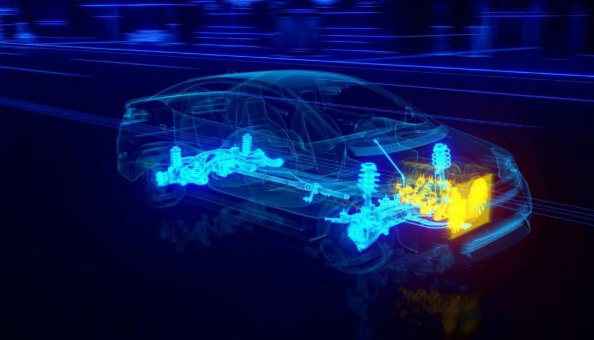 automobile, 3d, sospensioni, motore, distribuzione