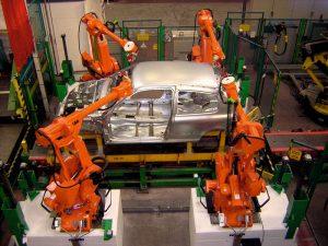 catena di montaggio, robot, automobile